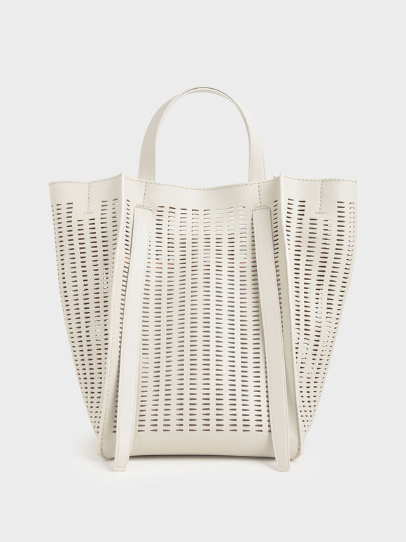 Large Laser-Cut Tote Bag, Cream, hi-res