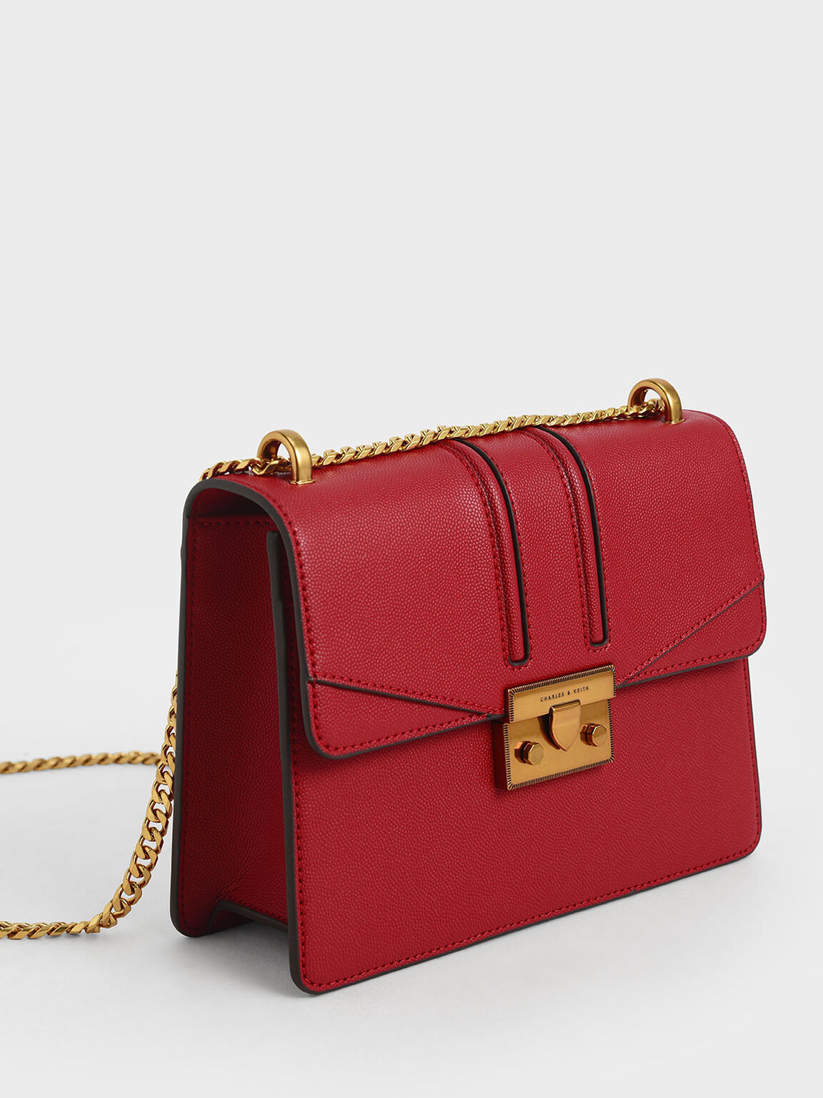 Metallic Push-Lock Shoulder Bag, Red, hi-res