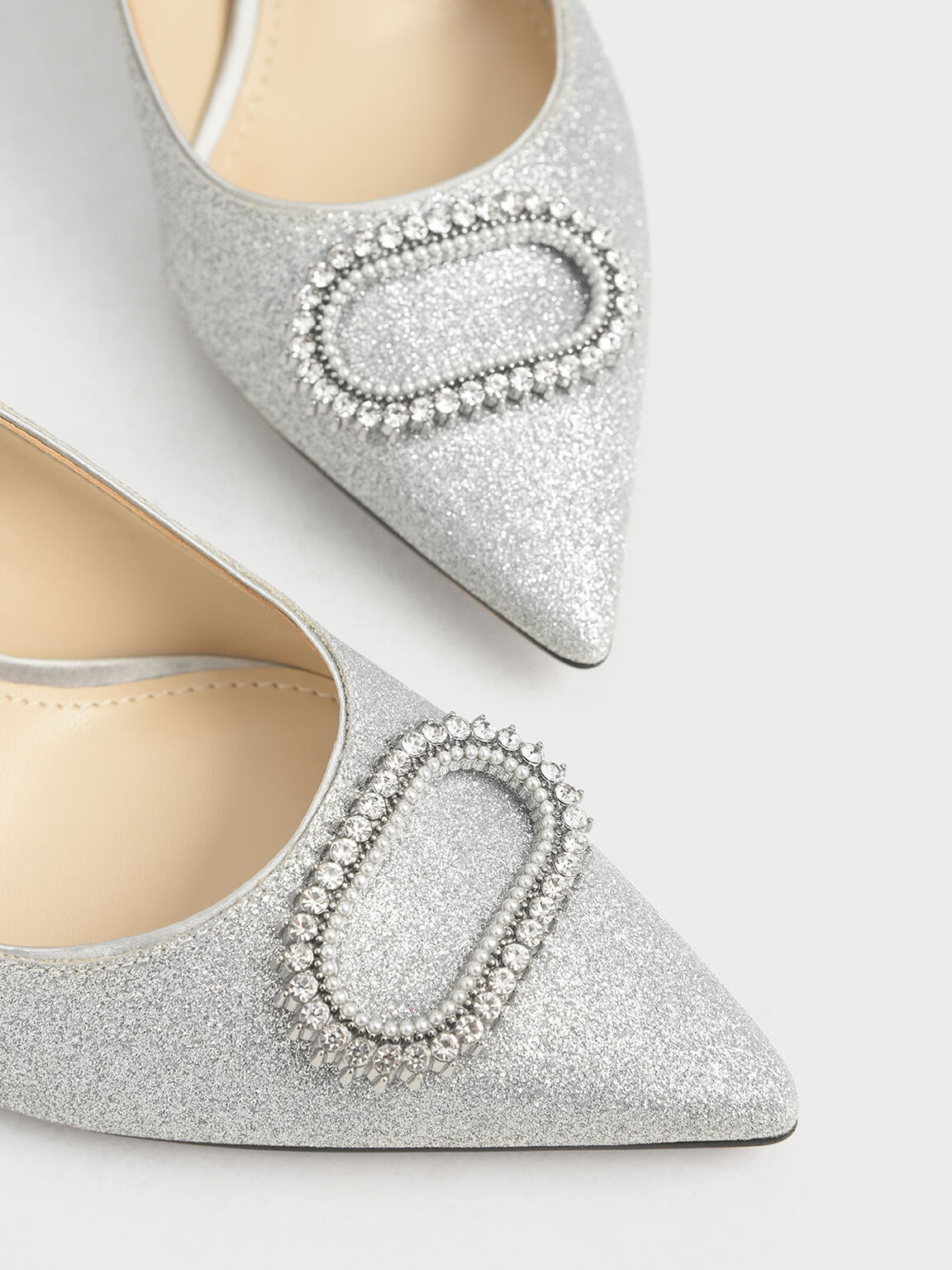 Wedding Collection: Glitter Embellished Pumps, Silver, hi-res