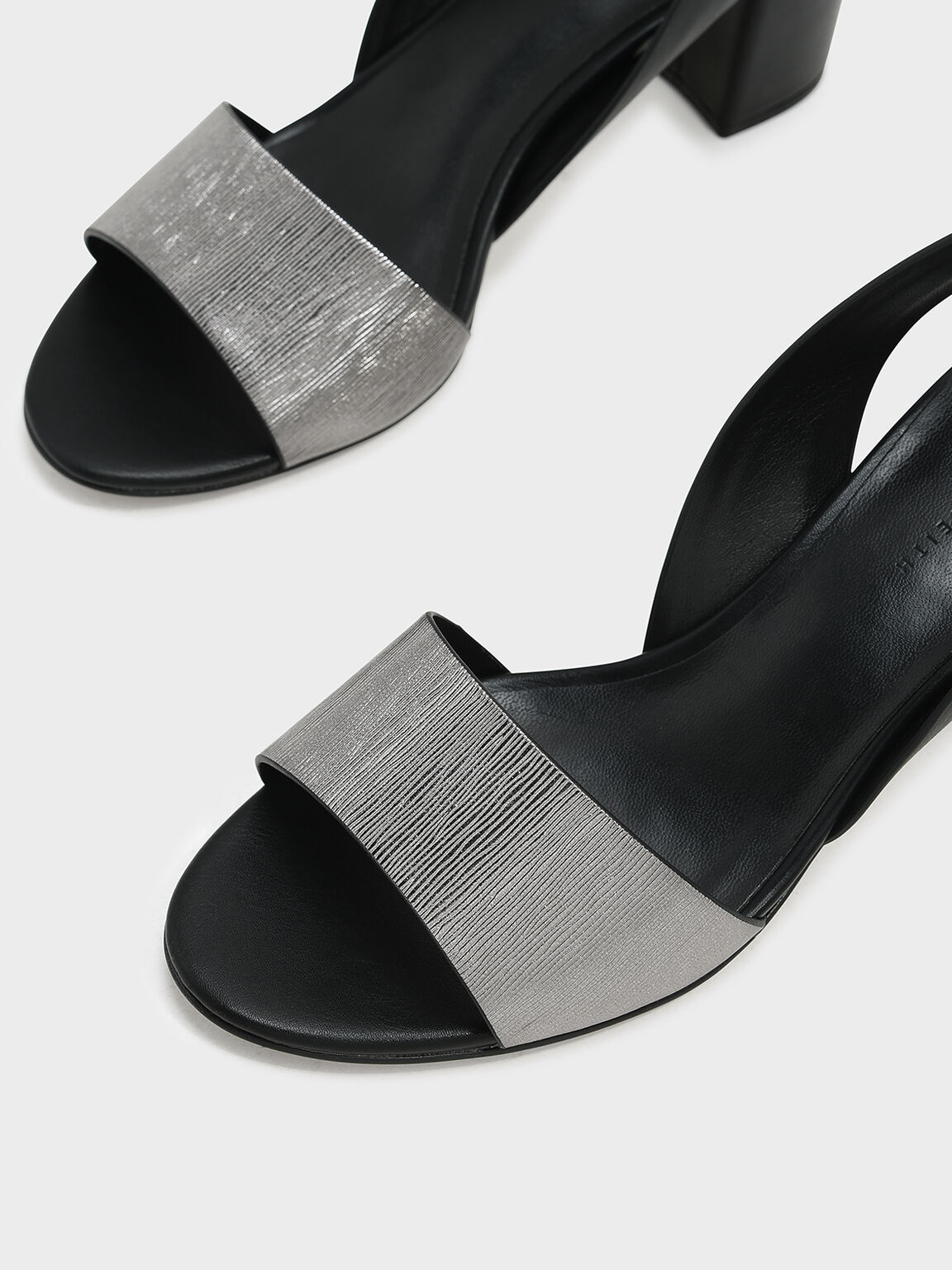 Sling Back Heels, Black, hi-res