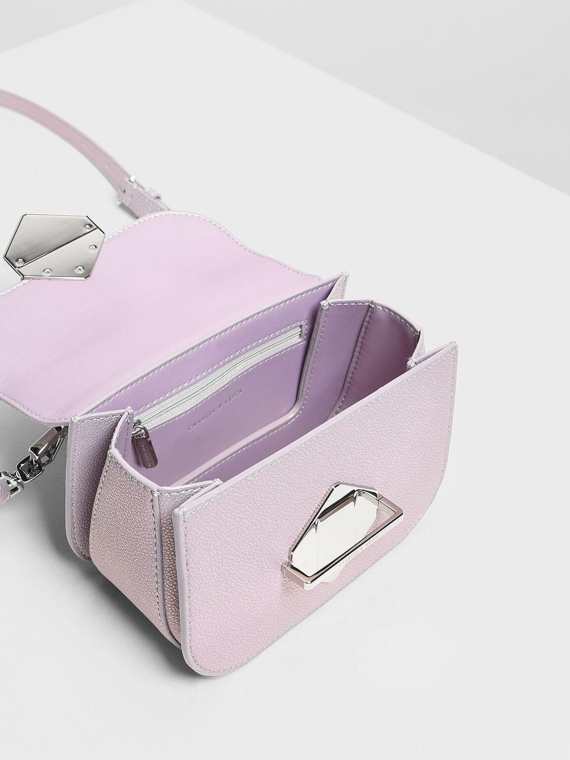 Metallic Accent Top Handle Bag, Peacock, hi-res