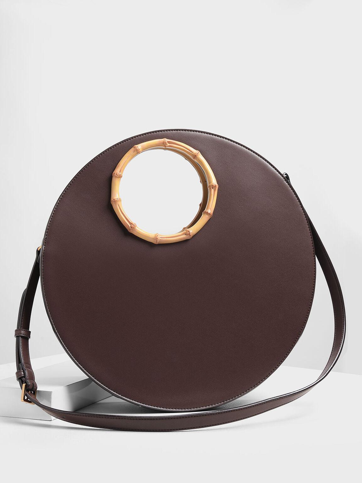 幾何圓型手提包, 咖啡色, hi-res