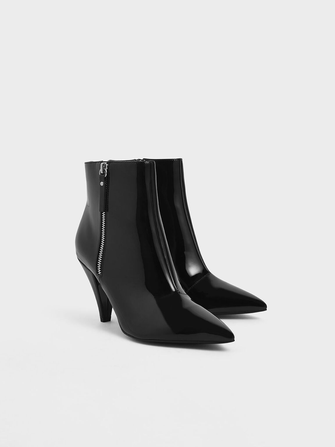 Patent Double Zip Pointed Toe Ankle Boots, Black Textured, hi-res