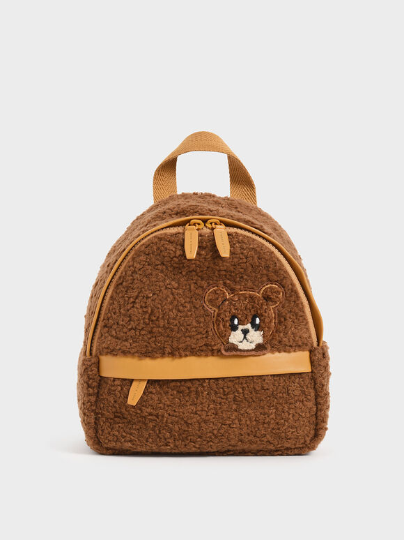 Girls' Bear Motif Furry Backpack, Brown, hi-res