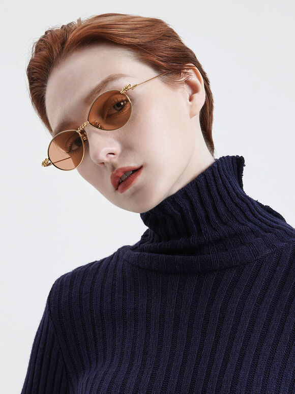 線圈橢圓墨鏡, 橘色, hi-res