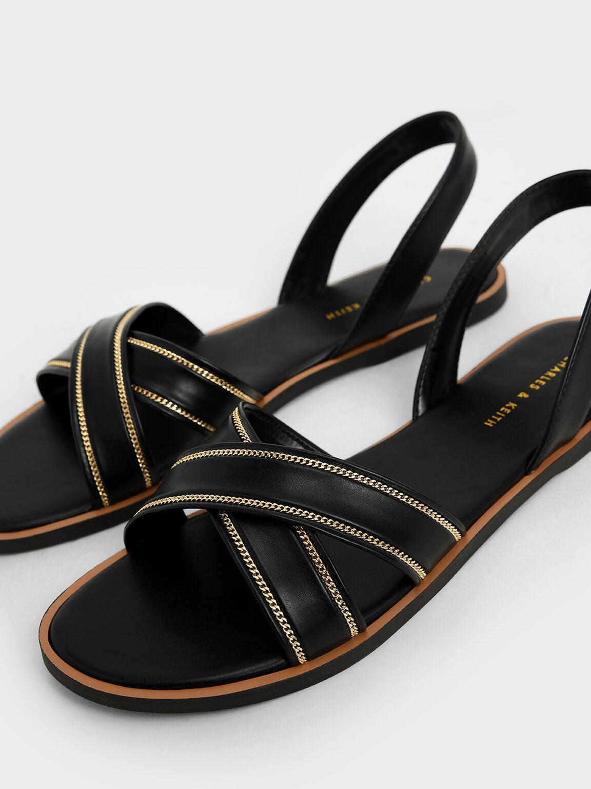 交叉帶涼鞋, 黑色, hi-res