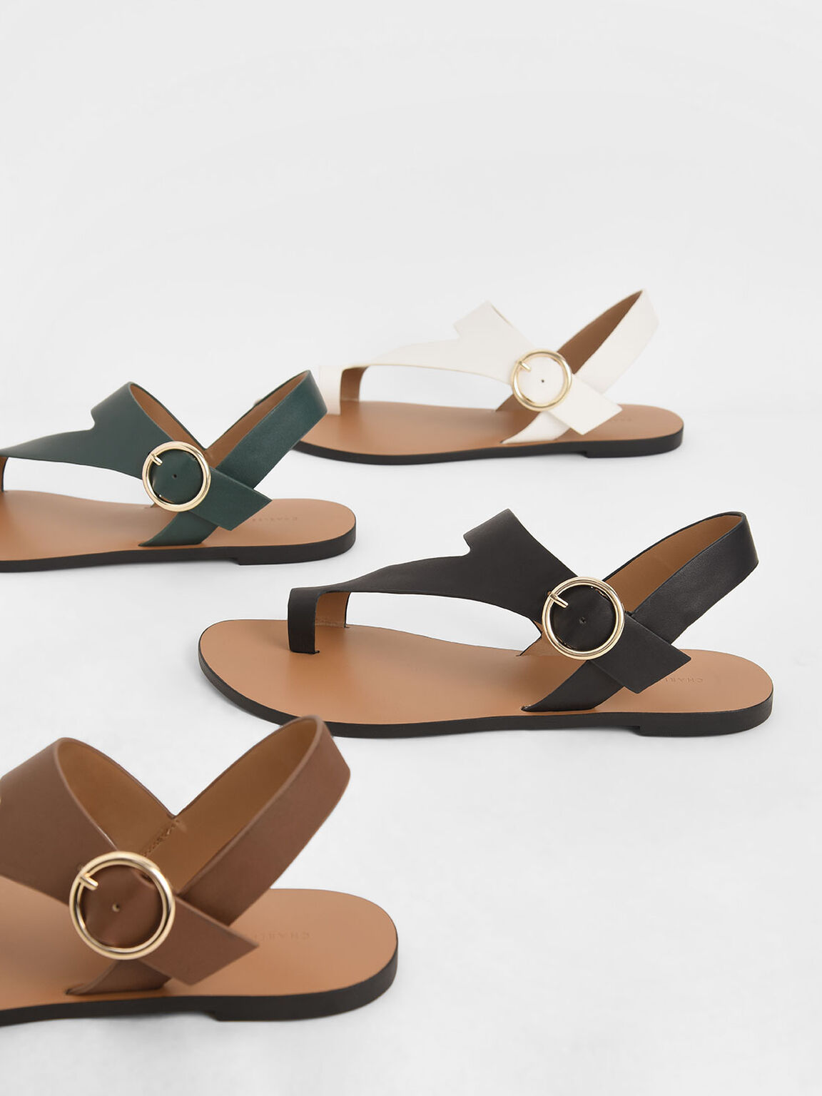 Toe Loop Asymmetric Strap Flats, Black, hi-res