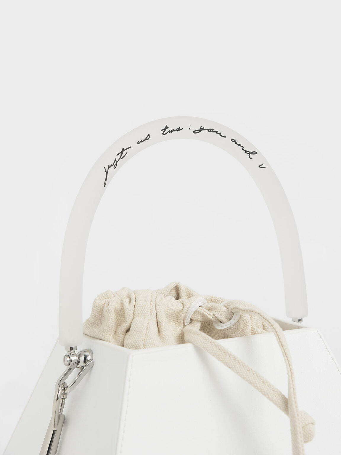 Acrylic Handle Structured Bucket Bag, White, hi-res