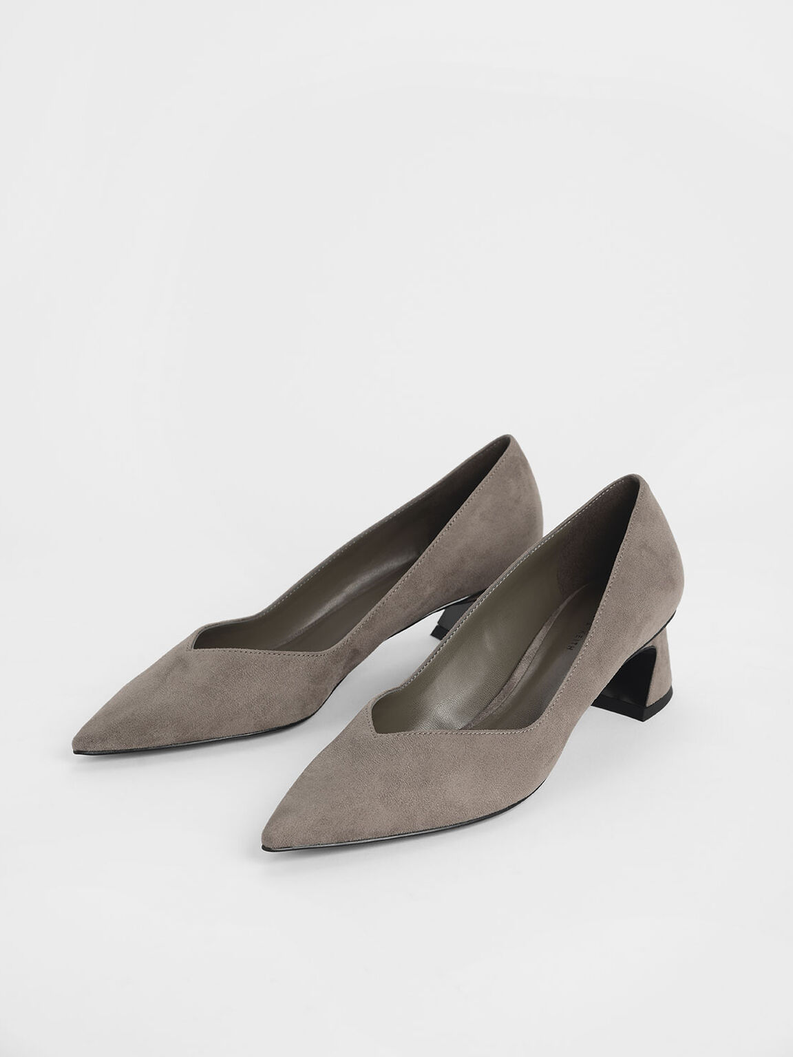 Curved Block Heel Textured Pumps, Taupe, hi-res