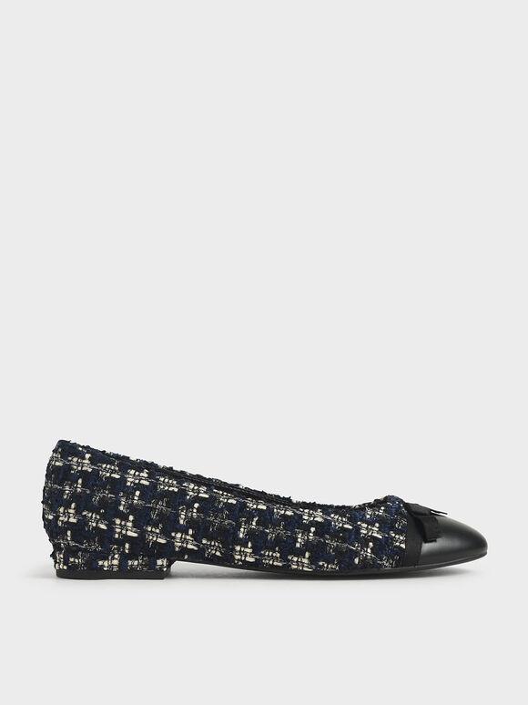 蝴蝶結平底鞋, 深藍色, hi-res