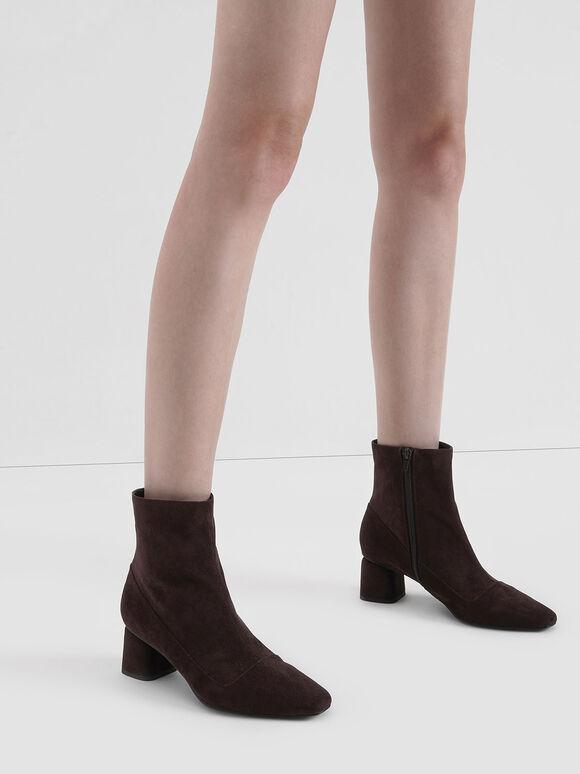 Textured Zip-Up Ankle Boots, Maroon, hi-res
