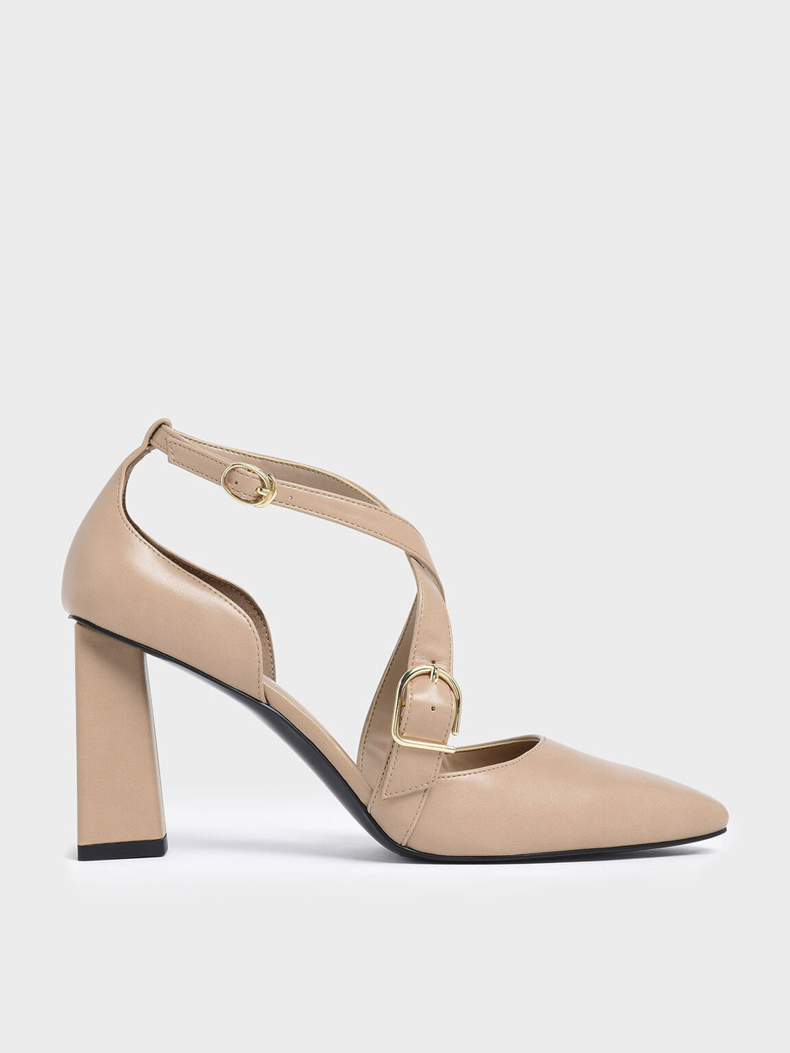 Buckle Detail Criss Cross Block Heel Pumps, Nude, hi-res