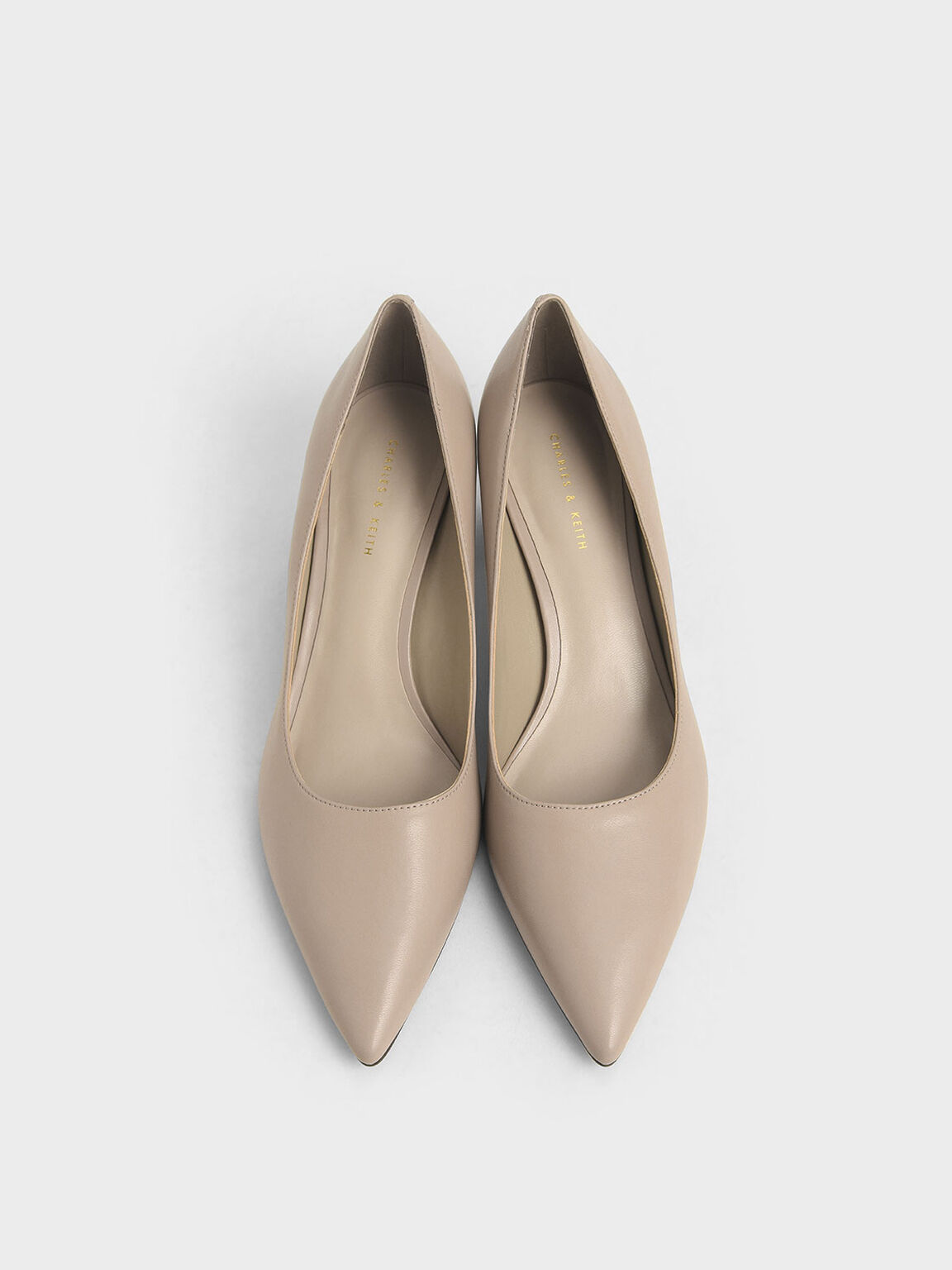 Metal Accented Pointed Toe Pumps, Taupe, hi-res