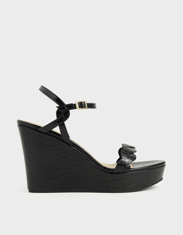 Black Croc-Effect Twist Strap Platform