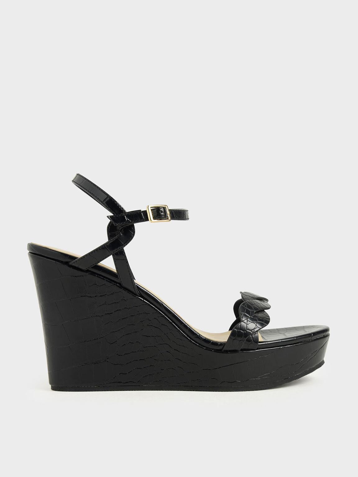 Croc-Effect Twist Strap Platform Wedges, Black, hi-res