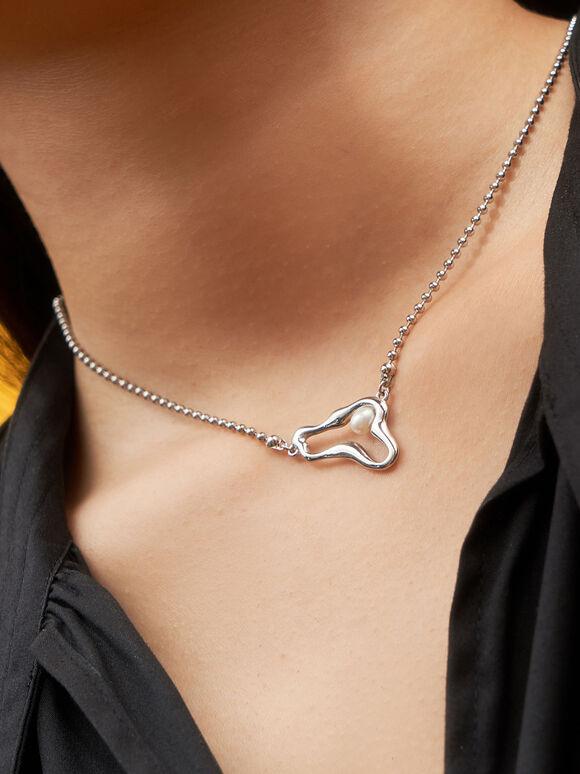 Sculpted Pendant Bead Necklace, Silver, hi-res