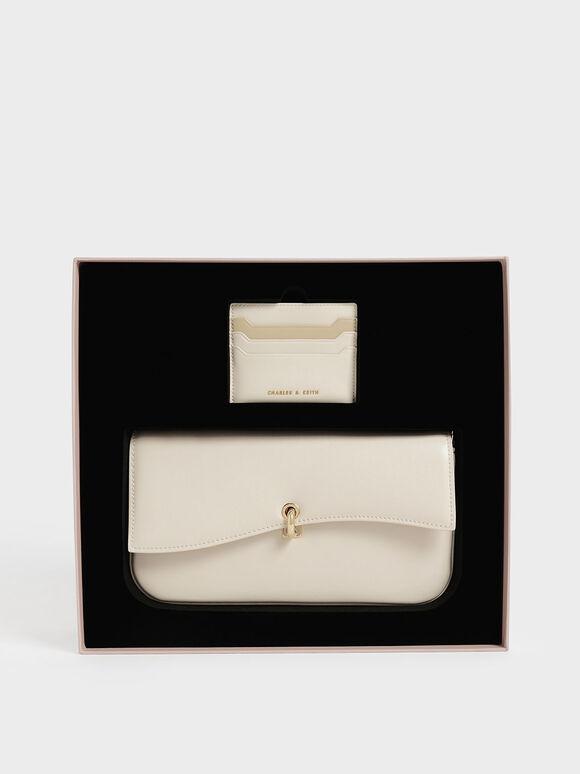 Gift Set: Shoulder Bag & Card Holder, Cream, hi-res
