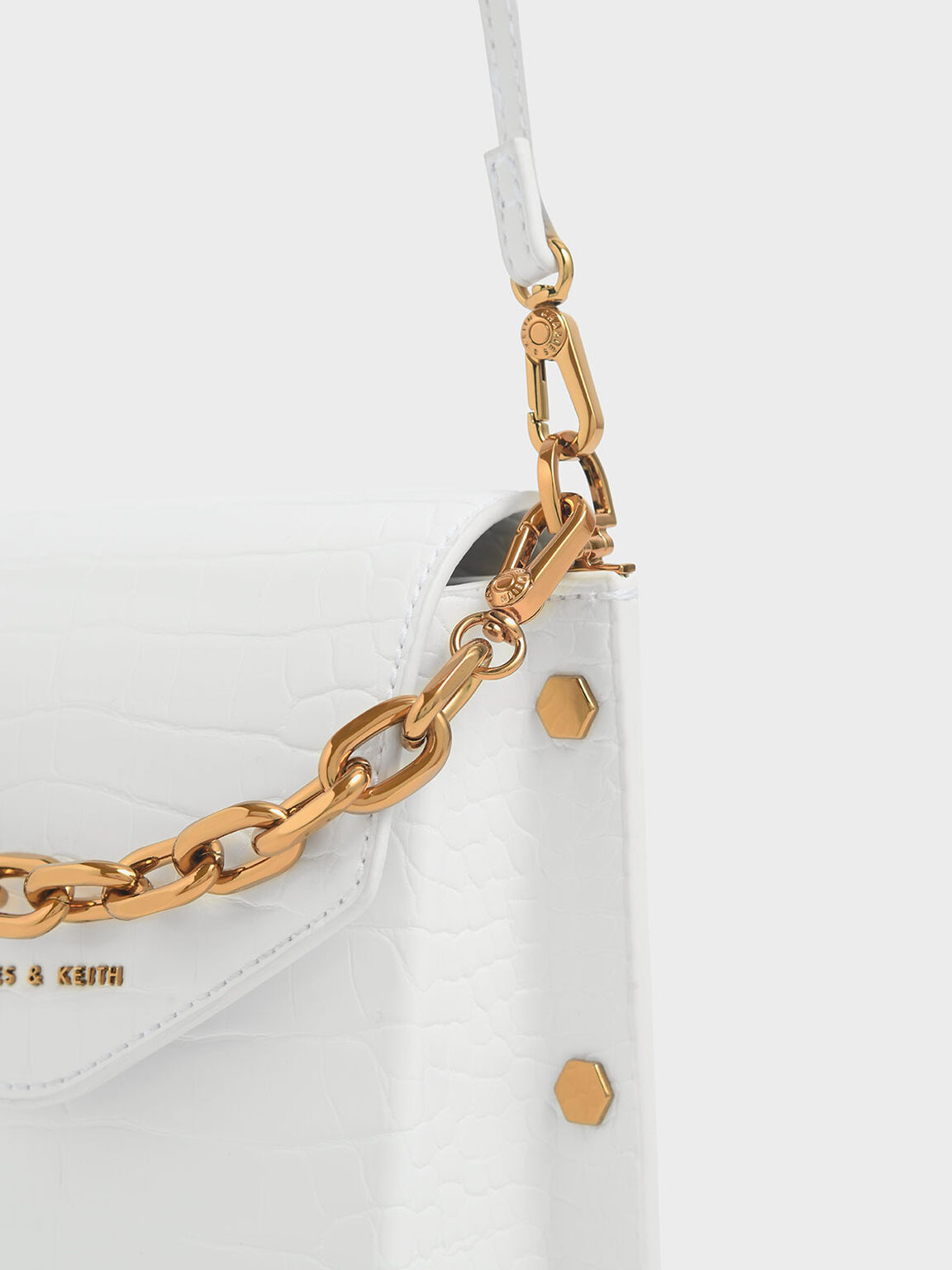 鱷魚紋鉚釘手提包, 白色, hi-res