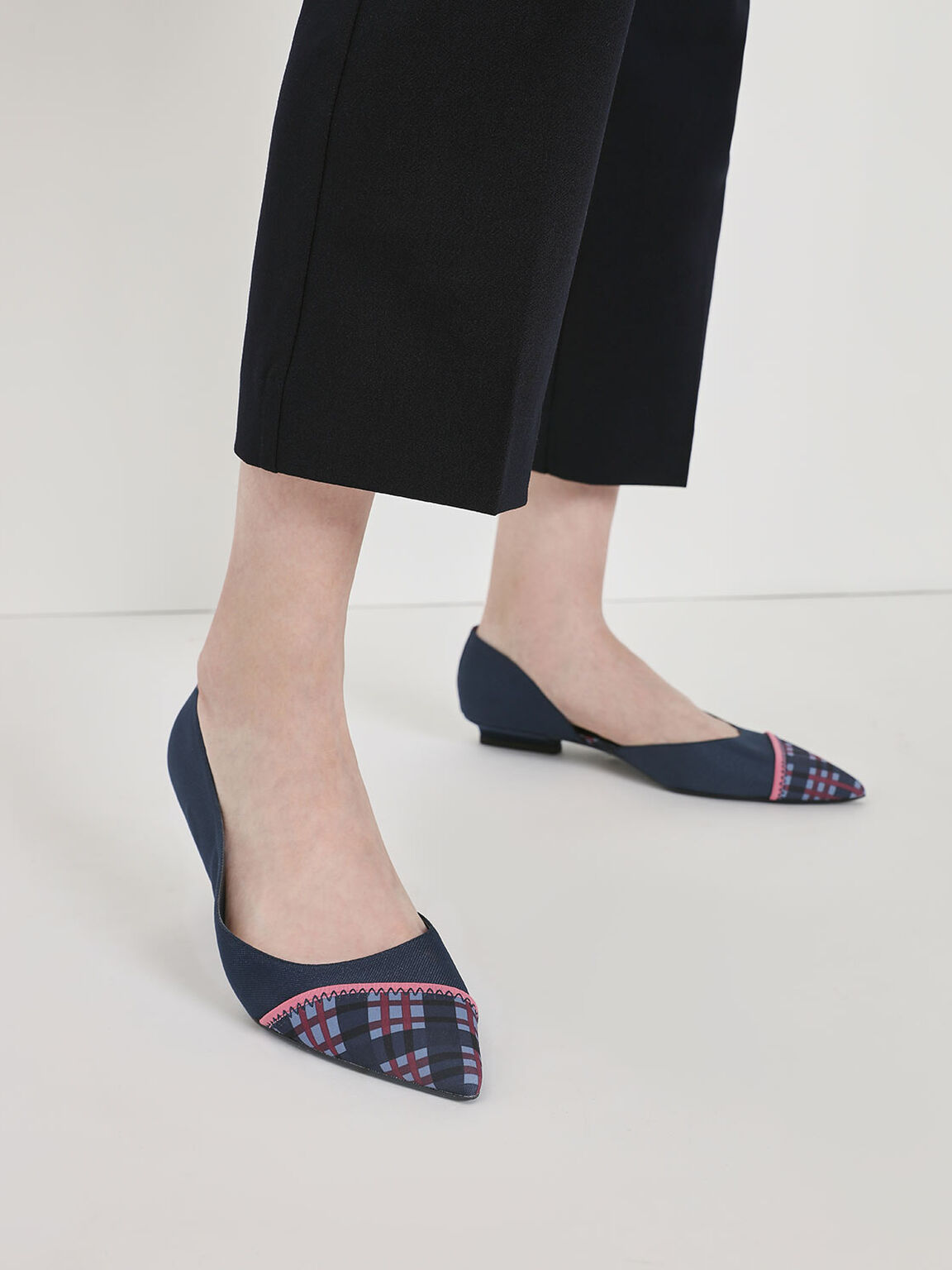 Asymmetrical Check Print Ballerinas, Blue, hi-res