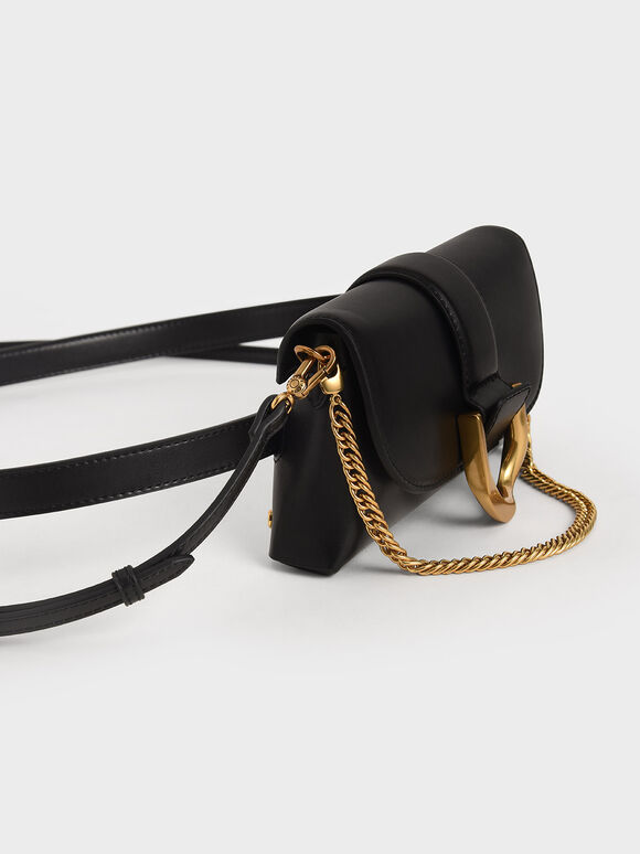 Metallic Buckle Crossbody Bag, Black, hi-res