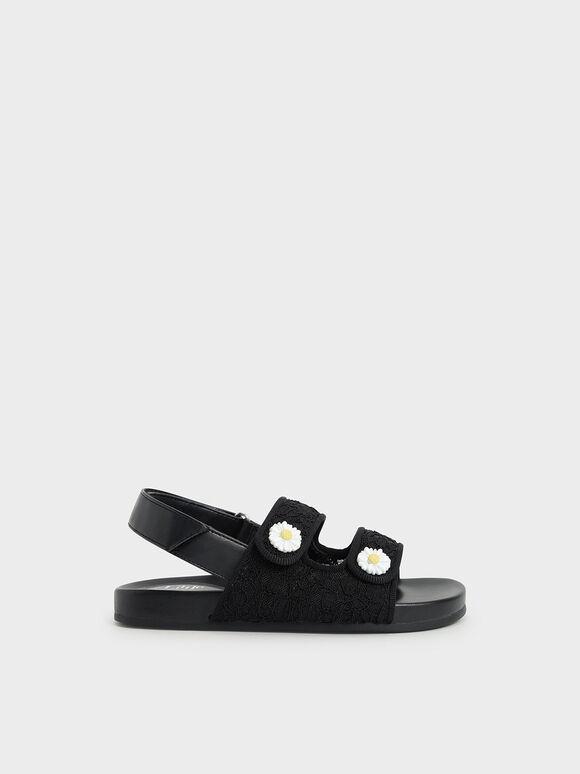 兒童花朵雙帶涼鞋, 黑色, hi-res