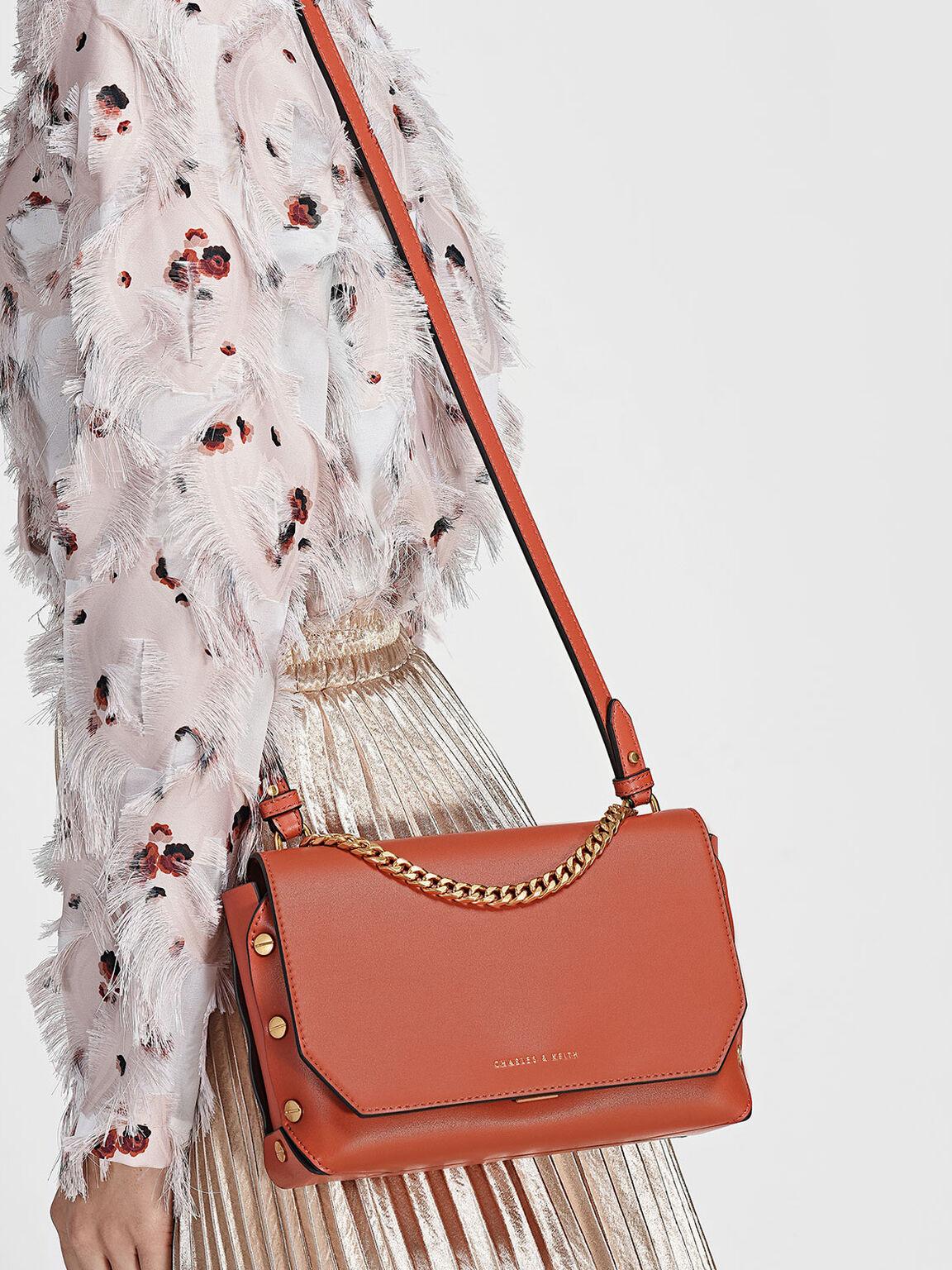 Chain Link Studded Shoulder Bag, Clay, hi-res