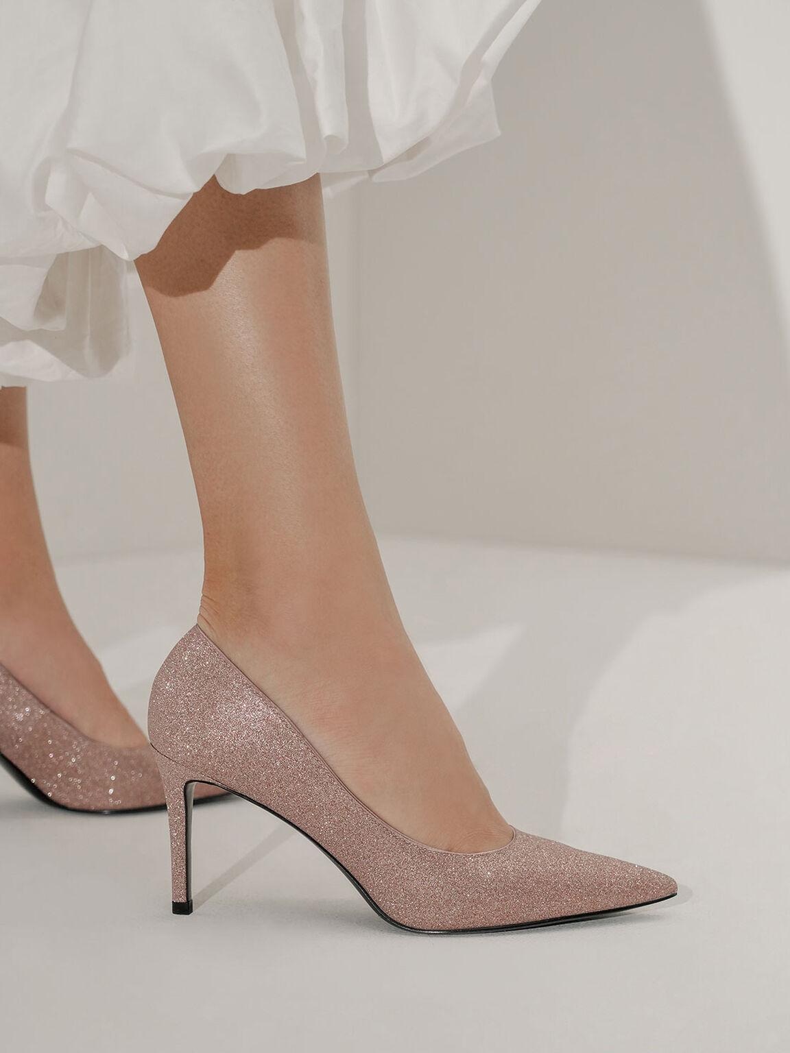 金蔥尖頭高跟鞋, 粉紅色, hi-res