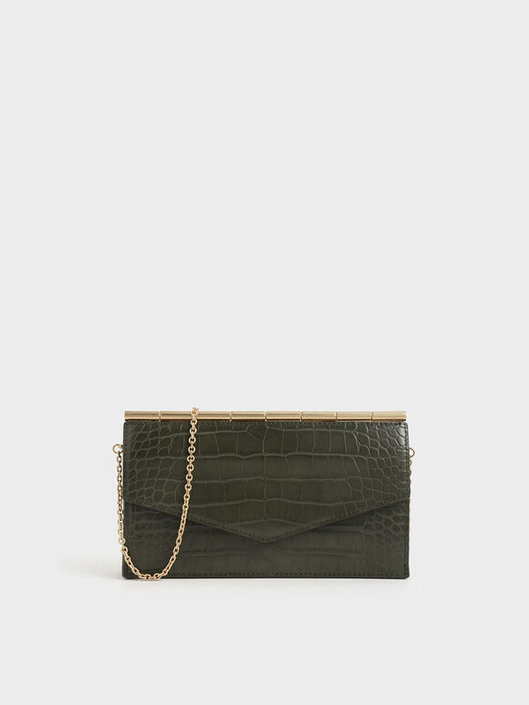 Mini Croc-Effect Long Envelope Wallet, Olive, hi-res
