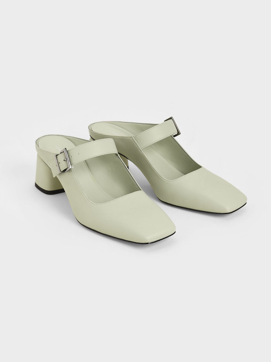 Mary Jane Block Heel Mules, Mint Green, hi-res