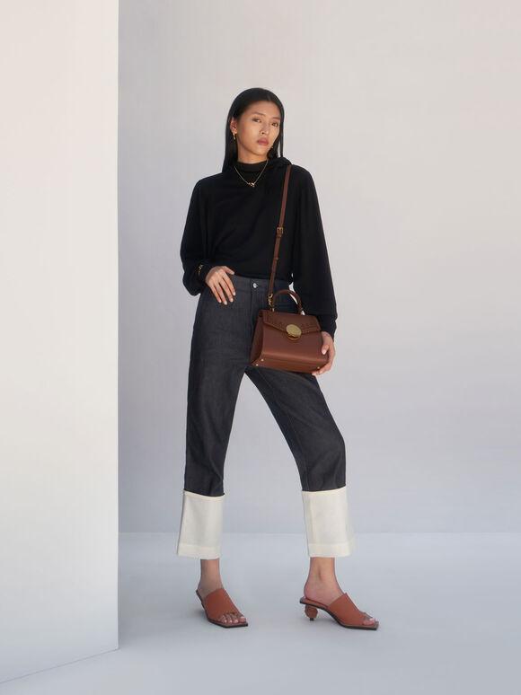 Woven Top Handle Bag, Chocolate, hi-res