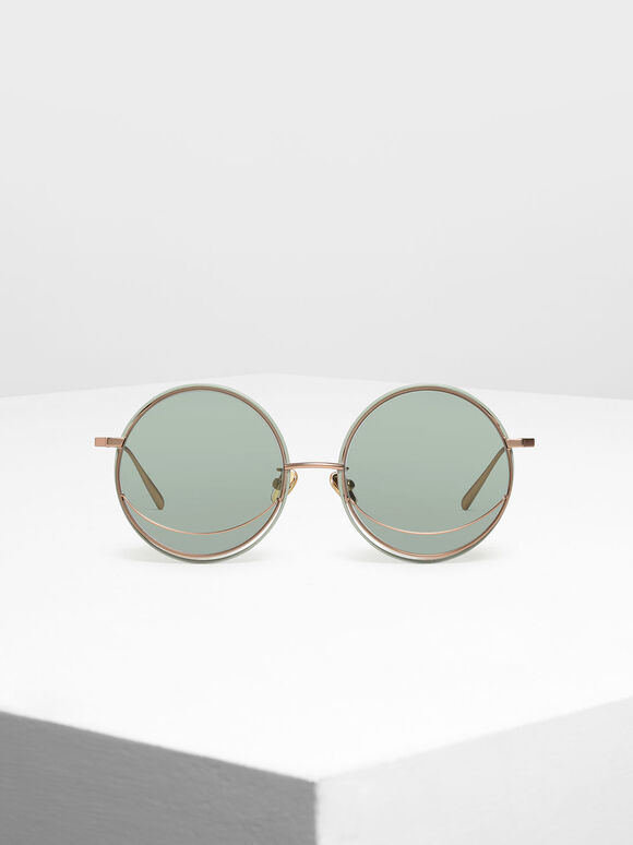 Circle Frame Sunglasses, Green, hi-res