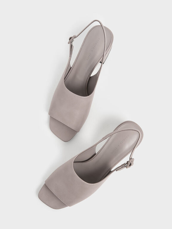 Slingback Block heels, Nude