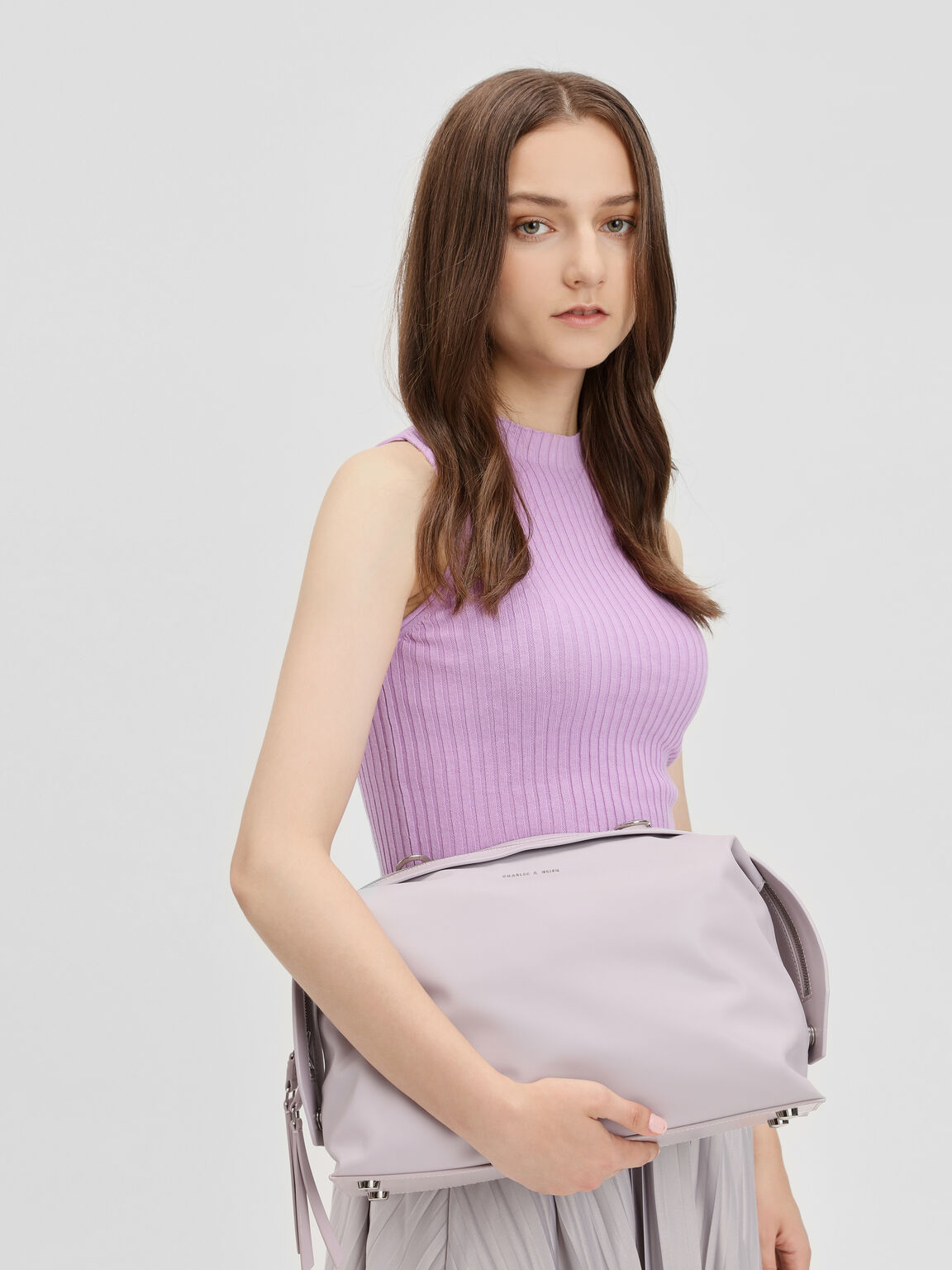 Slouchy Top Handle Bag, Lilac, hi-res