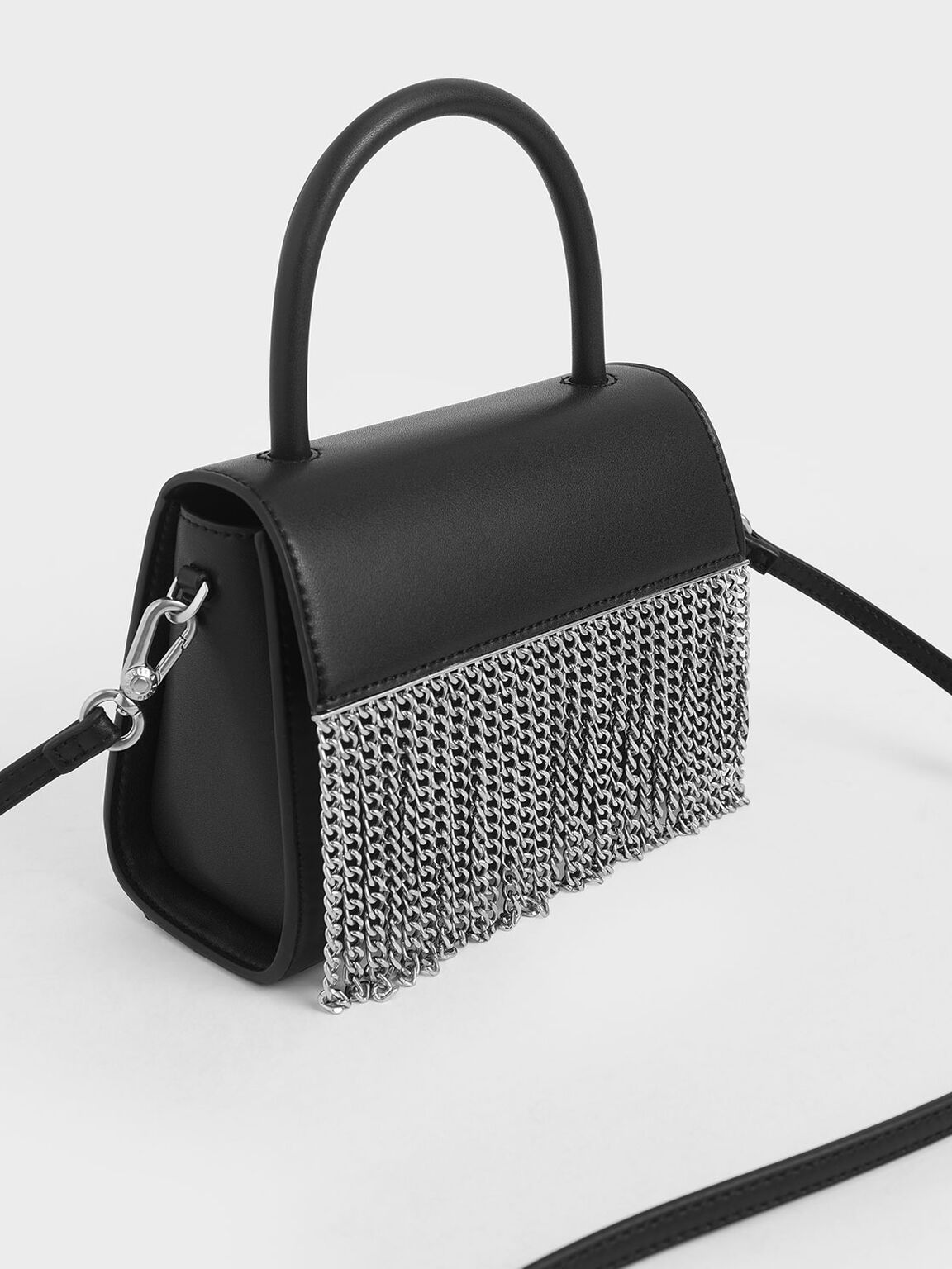 Metallic Fringe Top Handle bag, Black, hi-res