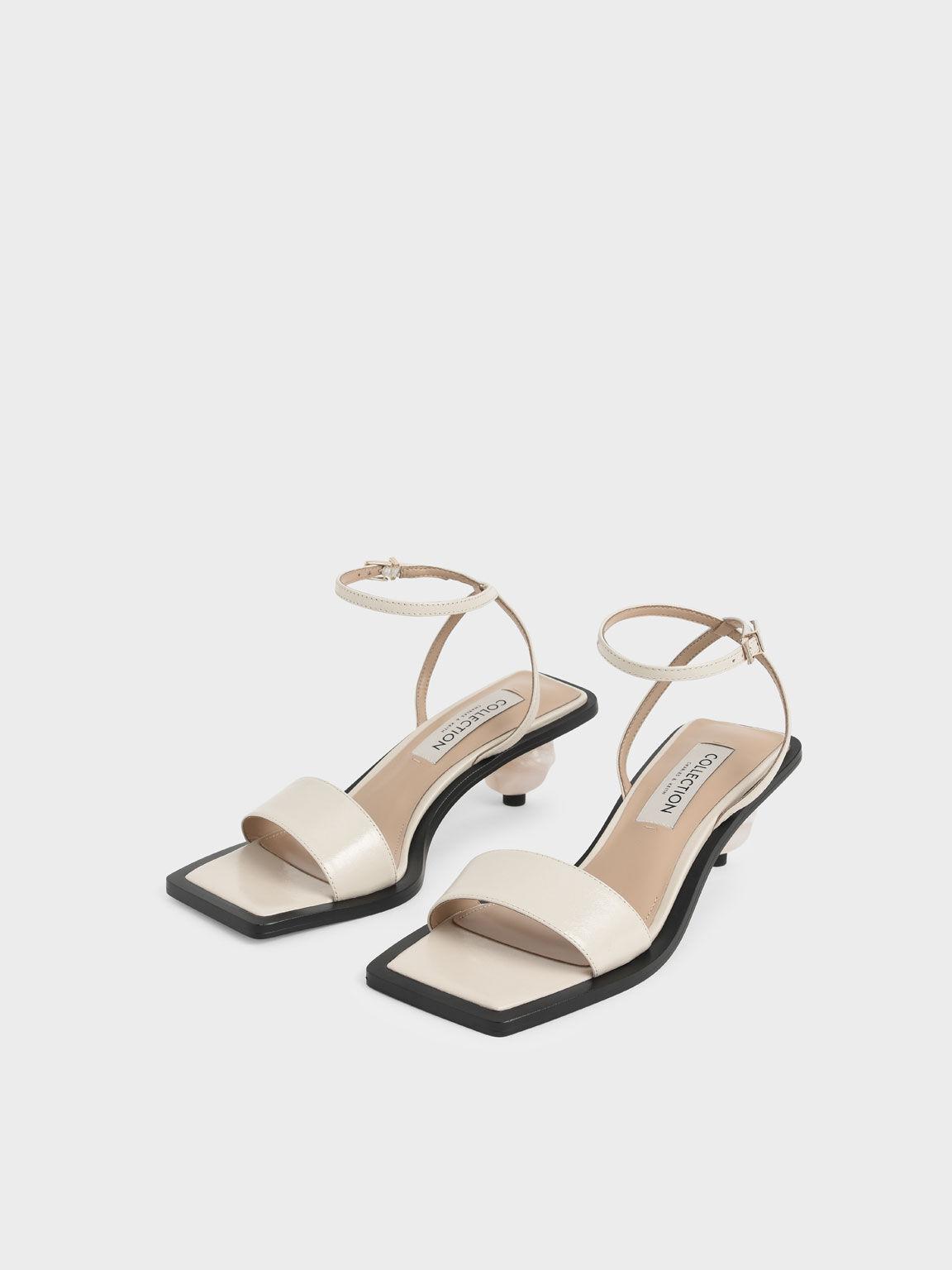 Sculptural Heel Sandals (Kid Leather), Beige, hi-res