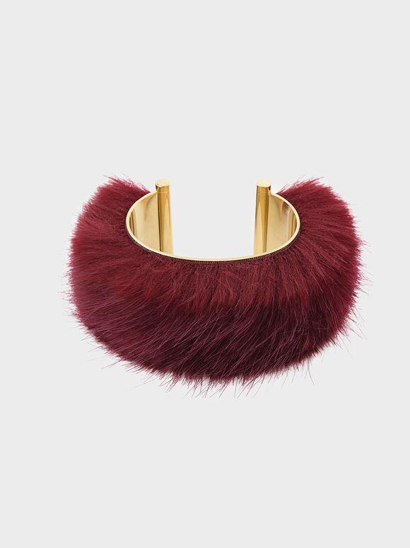 Furry Cuff, Red, hi-res