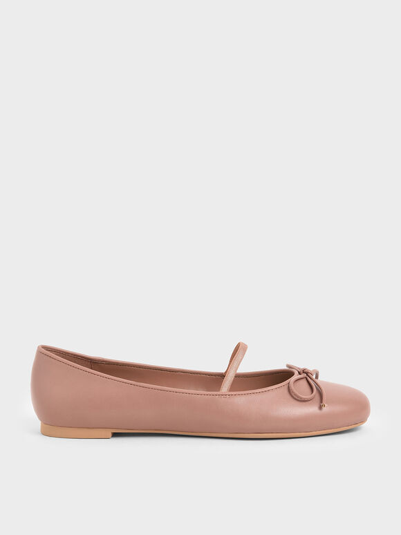 Ribbon Tie Mary Jane Ballerina Flats, Pink, hi-res