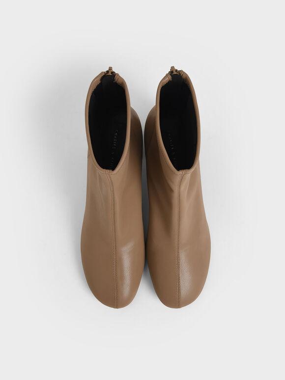 車縫線粗跟短靴, 咖啡色, hi-res