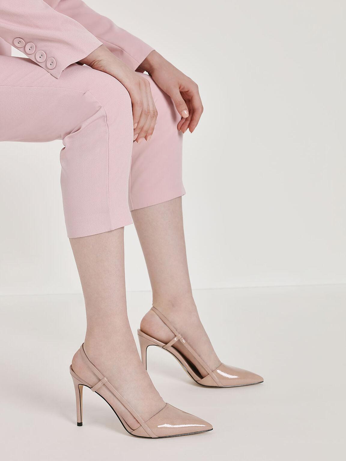 Pointed Toe Slingback Heels, Nude, hi-res