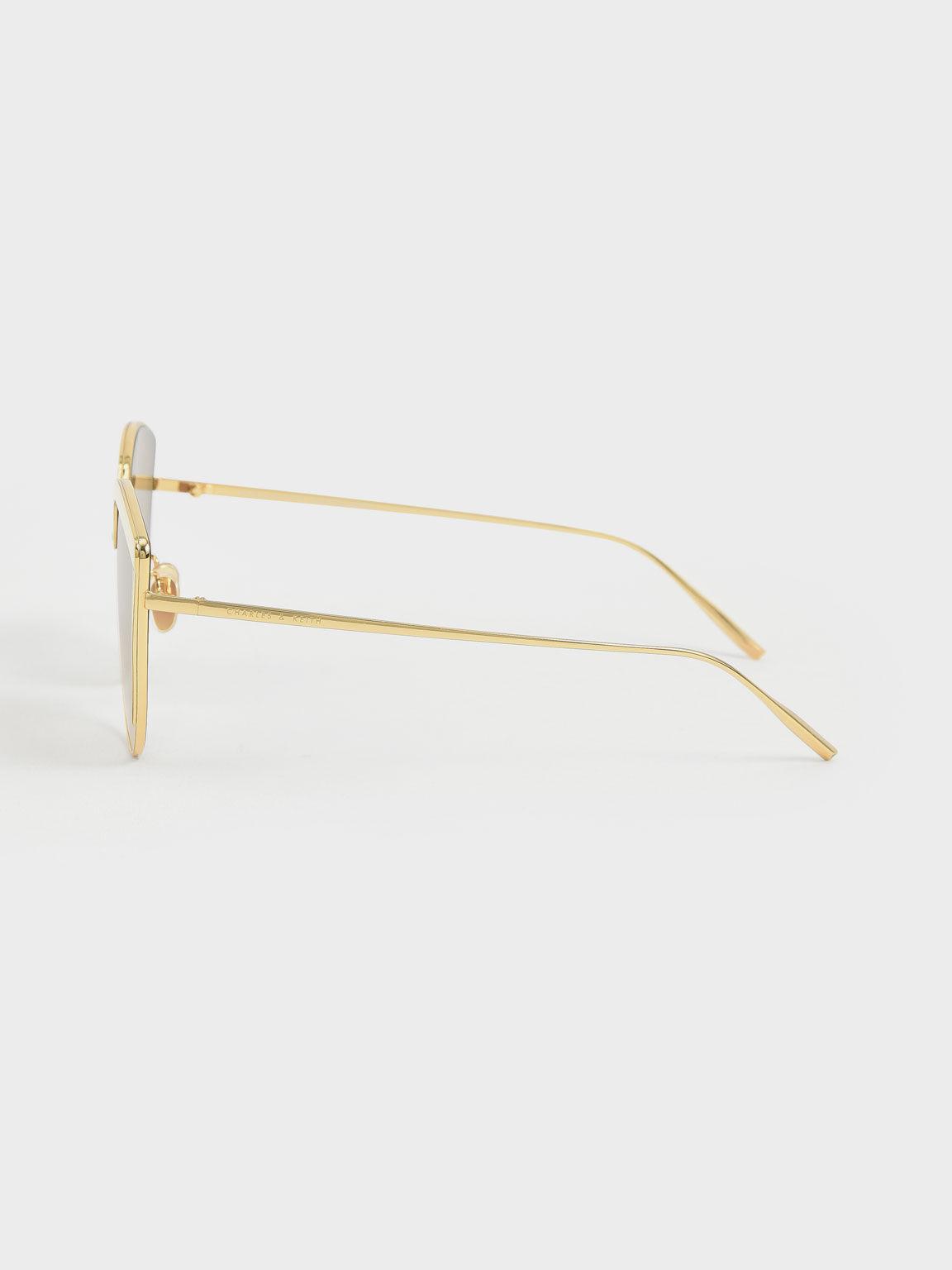 Thin Metal Frame Cat-Eye Sunglasses, Cream, hi-res
