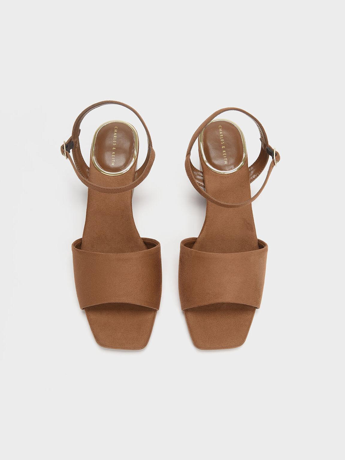 Ankle Strap Wedges, Brown, hi-res