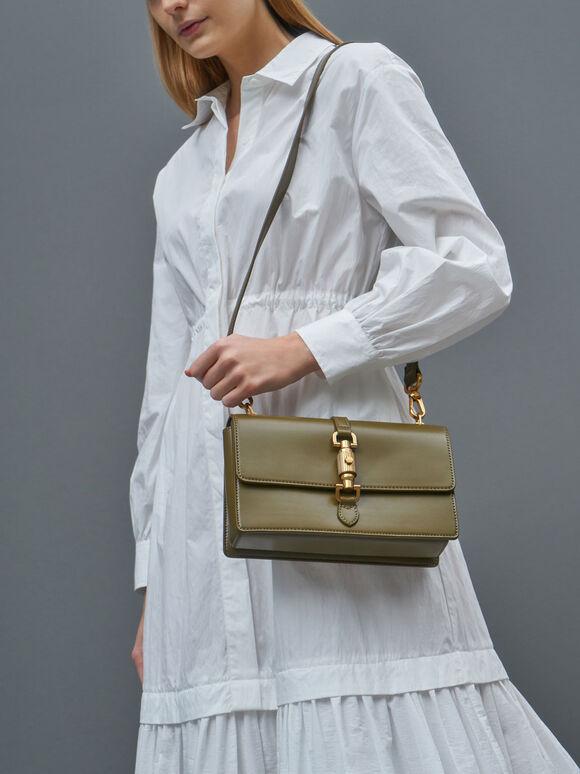 Single Chain Handle Shoulder Bag, Olive, hi-res