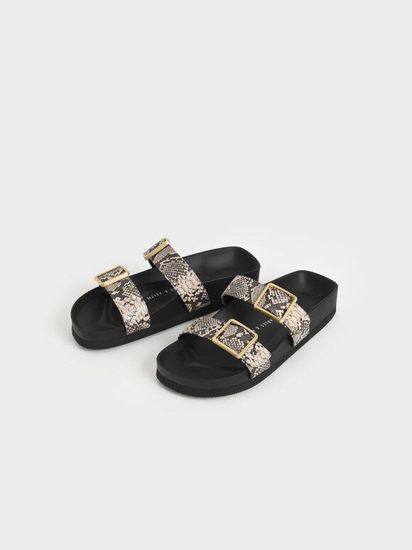 金屬釦雙帶拖鞋, 原色動物紋, hi-res