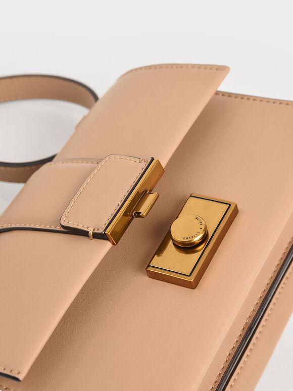 Metallic Push-Lock Crossbody Bag, Beige, hi-res