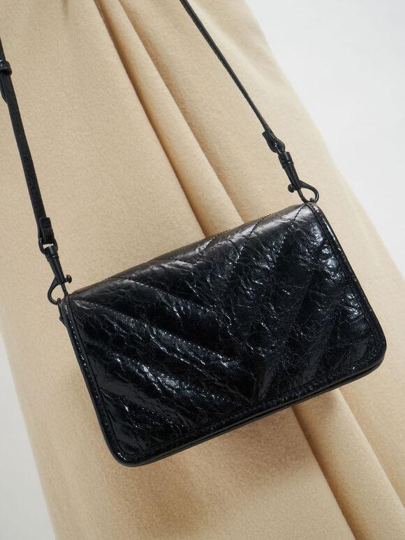 Quilted Patent Crossbody Bag, Black, hi-res