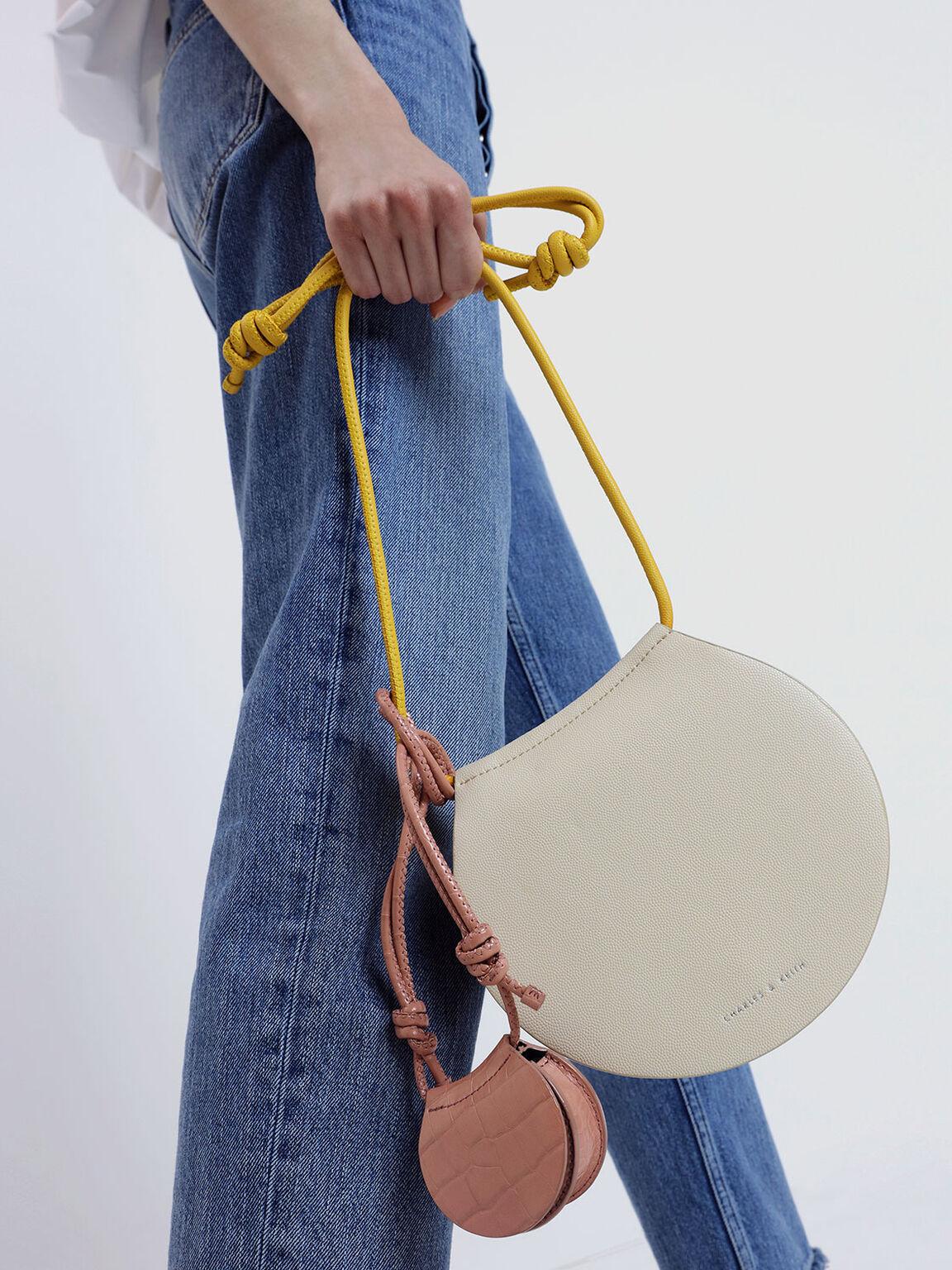 圓型斜背包, 白色, hi-res