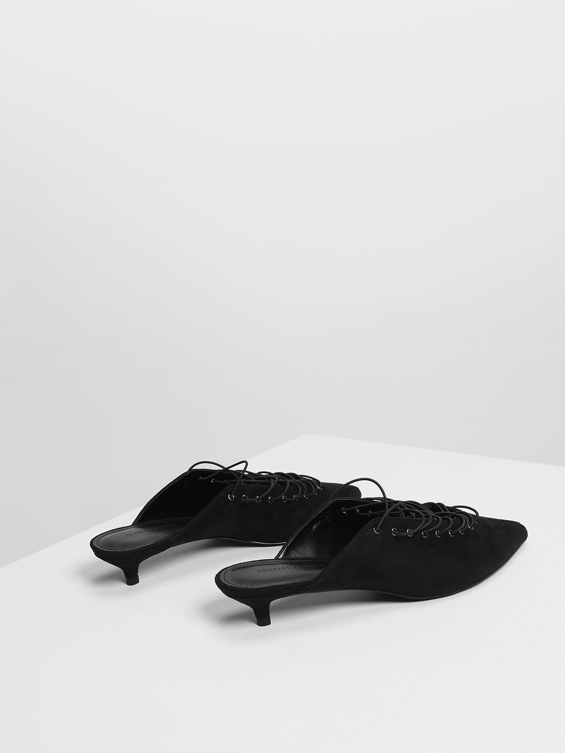 Lacing Detail Pumps, Black, hi-res