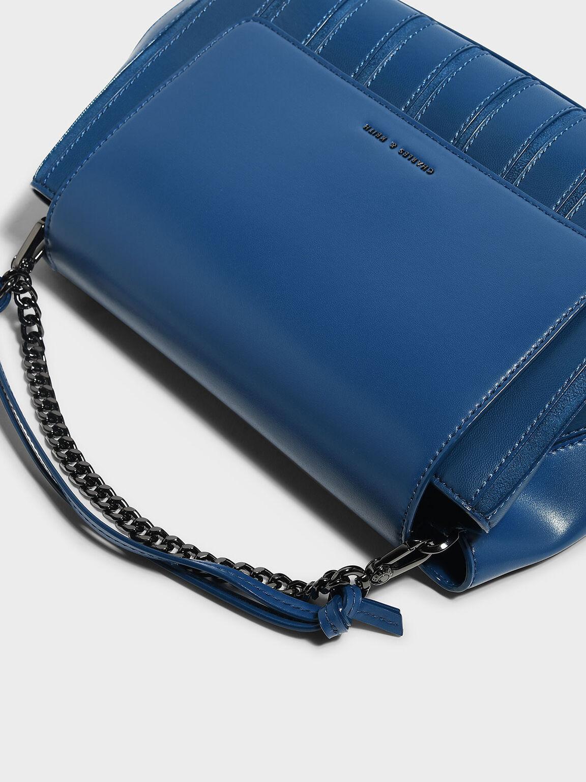 Chain Detail Handbag, Blue, hi-res