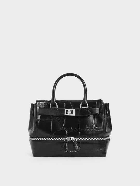 Croc-Effect Two-Way Zip Tote, Black, hi-res
