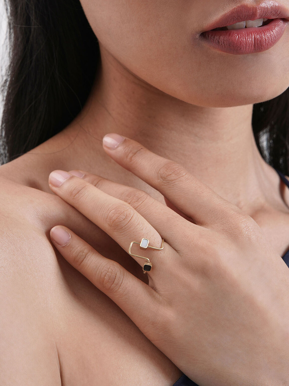 Mother Of Pearl Sculptural Ring, Gold, hi-res